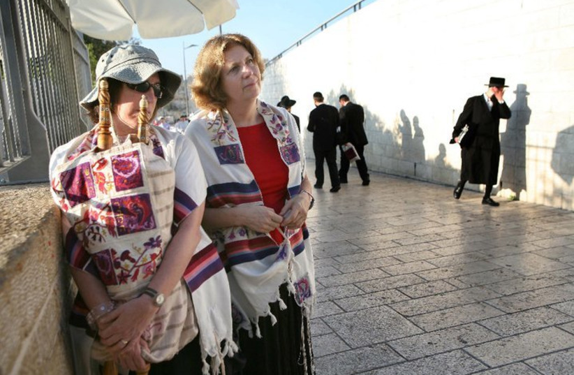 Anat Hoffman and another woman at the Entrance to Kotel; from Women of the Wall (photo credit: MICHAL PATELLE - WOMEN OF THE WALL / CC BY-SA 3.0 VIA WIKIMEDIA COMMONS)