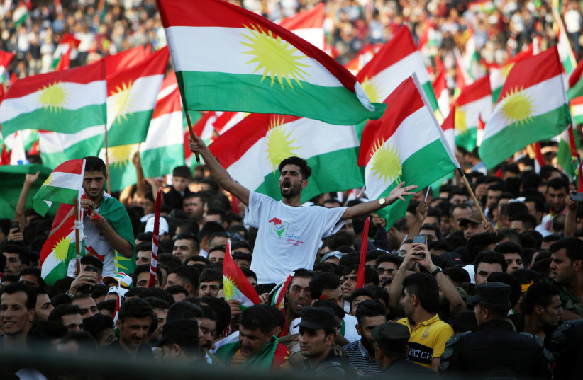 Kurds celebrate to show their support for the upcoming September 25th independence referendum in Erbil, Iraq September 22, 2017. (photo credit: REUTERS)