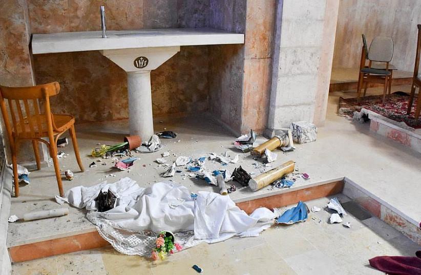 Image of Saint Stephen Church vandalism. (photo credit: COURTESY OF LATIN PATRIARCHATE OF JERUSALEM)