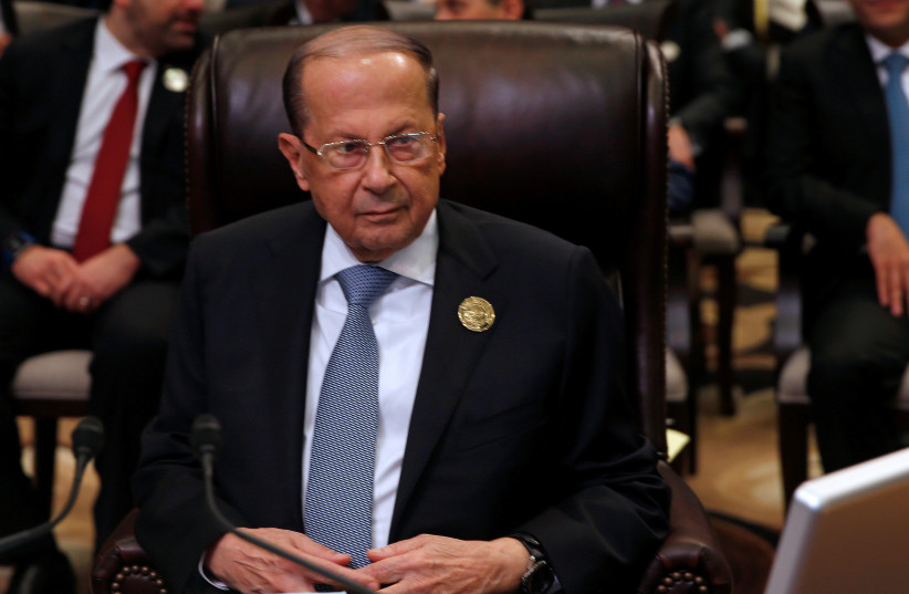 Lebanon's President Michel Aoun attends the 28th Ordinary Summit of the Arab League at the Dead Sea, Jordan March 29, 2017. (photo credit: REUTERS)