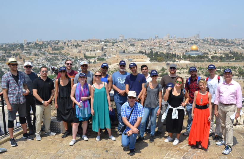 INSS SUMMER PROGRAM students gather during their field trip to East Jerusalem. (photo credit: INSS)