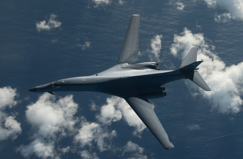 One of two US Air Force B-1B Lancer bombers flies a 10-hour mission from Andersen Air Force Base, Guam, into Japanese airspace and over the Korean Peninsula, July 30, 2017. (photo credit: US AIR FORCE PHOTO VIA REUTERS)