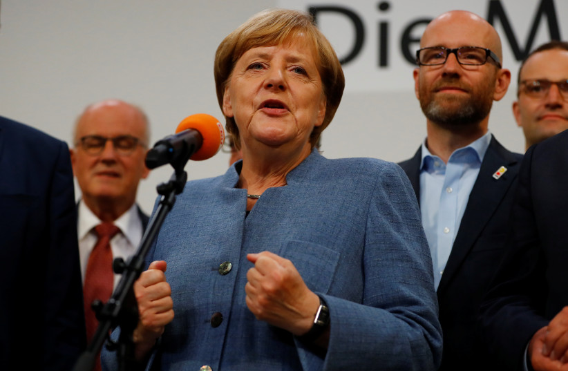 Christian Democratic Union CDU party leader and German Chancellor Angela Merkel reacts after winning the German general election (Bundestagswahl) in Berlin, Germany, September 24, 2017. (photo credit: REUTERS)