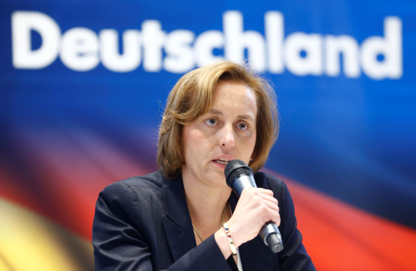 Member of the European Parliament Beatrix von Storch speaks at a press conference of the Germany's far-right Alternative for Deutschland (AfD) party in Berlin (photo credit: HANNIBAL HANSCHKE/REUTERS)