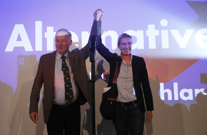Alice Weidel and Alexander Gauland, top candidates of the anti-immigration party Alternative fuer Deutschland (AfD)  (photo credit: WOLFGANG RATTAY / REUTERS)
