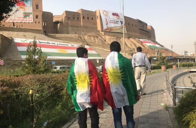 Kurds in Erbil, Iraq, on the day of the independence referendum on September 25, 2017. (photo credit: SETH J. FRANTZMAN)