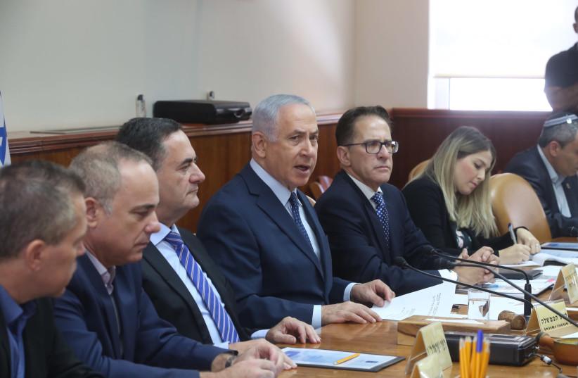 Israeli Prime Minister Benjamin Netanyahu speaks at a cabinet meeting (photo credit: MARC ISRAEL SELLEM)