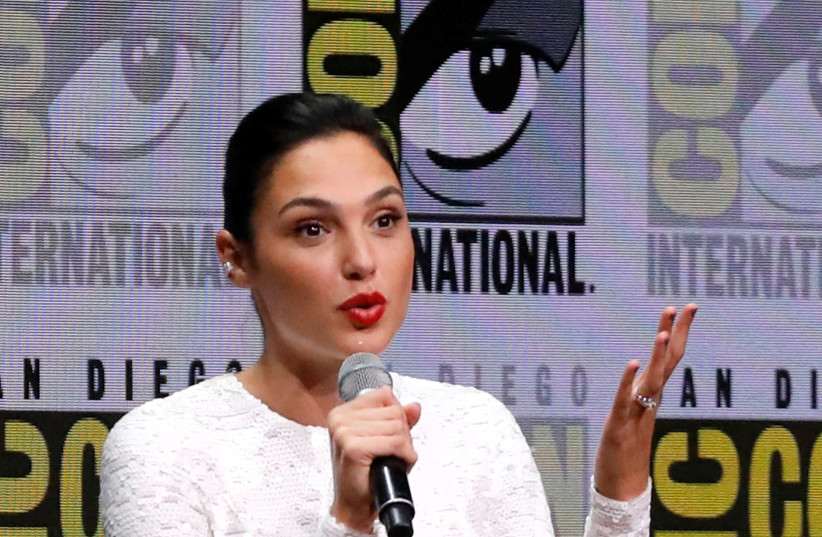 """Cast member Gadot at a panel for """"Justice League"""" during the 2017 Comic-Con International Convention in San Diego. (photo credit: REUTERS)"""