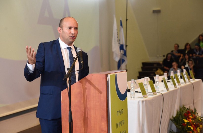Naftali Bennett speaking at the Bayit Yehudi central committee. (photo credit: NACHSHON PHILIPSON)