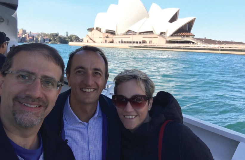 Former US ambassador Dan Shapiro with former Australian ambassador Dave Sharma and his wife, Rachel Lord, in Sydney. (photo credit: COURTESY DAVE SHARMA)
