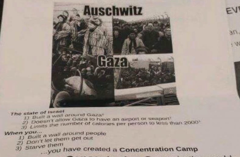 The poster, likening Zionism to Nazism, was found on campus at the University of Illinois at Urbana-Champaign. (photo credit: EVA ZELTSER)