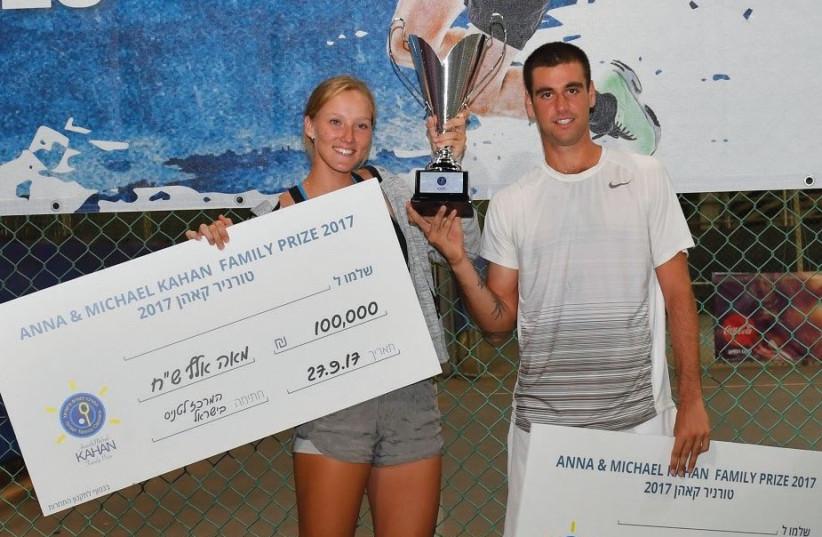 Tennis stars Lina Glushko and Ben Patael (photo credit: ALEX GOLDENSTEIN/ISRAEL TENNIS ASSOCIATION)