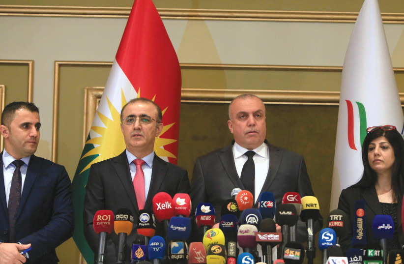 THE KURDISH region's High Elections and Referendum Commission holds a press conference in Erbil, Iraq. (photo credit: REUTERS)