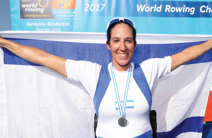 Israeli paralympian rower Moran Samuel takes silver medal at World Championships. (photo credit: DETLEV SEYB)