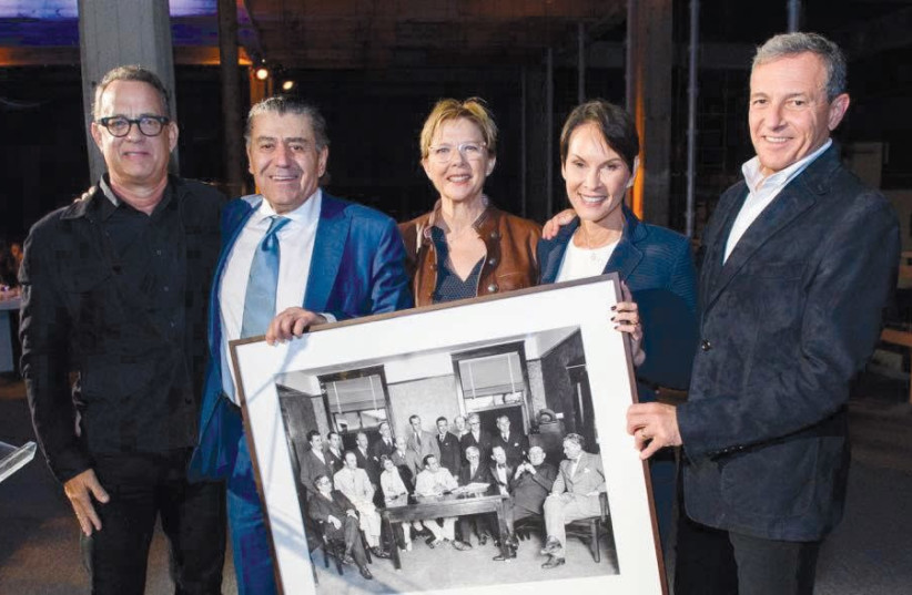 Tom Hanks, Haim Saban, Annette Bening, Cheryl Saban and Bob Eiger. (photo credit: SAPMA)