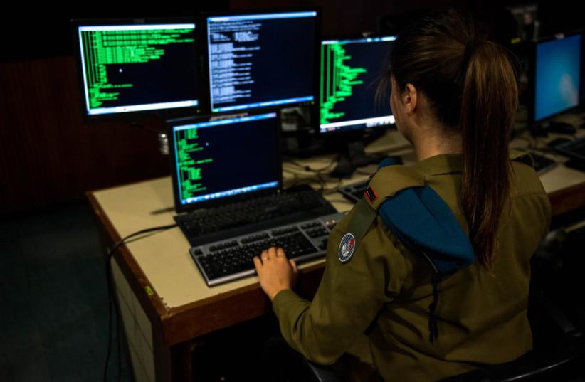 Female IDF soldier in the J6/C4I Cyber Defense Directorate. (photo credit: IDF SPOKESPERSON'S UNIT)