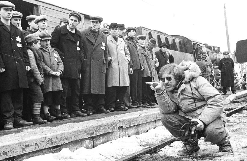 "Steven Spielberg on the set of ""Schindler's List."" (photo credit: HBO)"