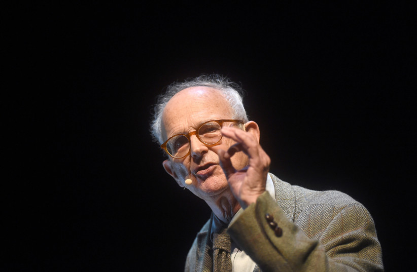 Nobel prize winner MIT Professor Emeritus of Physics Rainer Weiss delivers a lecture on gravitational waves (photo credit: NOAH BERGER / REUTERS)