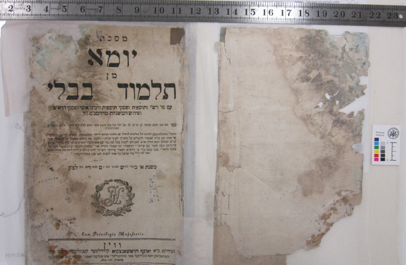 A Babylonian Talmud from Vienna, 1793. This volume was among the items recovered from the flooded basement of Saddam Hussein's intelligence headquarters. (photo credit: NATIONAL ARCHIVES)