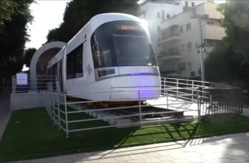 Light rail train car on display in central Tel Aviv. (photo credit: YOCHEVED LAUFER)