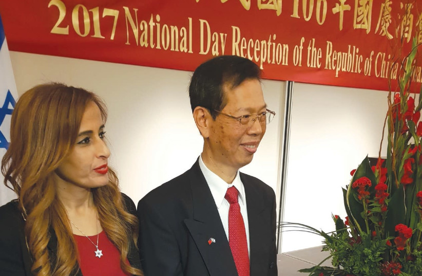 DEPUTY KNESSET Speaker Nava Boker with Yung Sheng Chi Representative of the Taipei Economic and Cultural Office at Taiwan National Day Reception. (photo credit: STEVE LINDE)