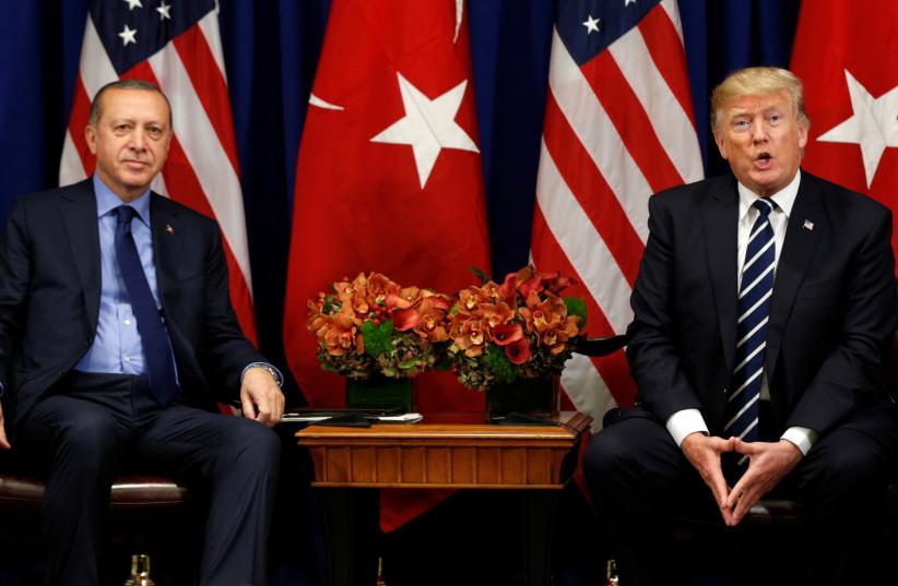 US President Donald Trump alongside Turkish President Recep Tayyip Erdogan. (photo credit: REUTERS)