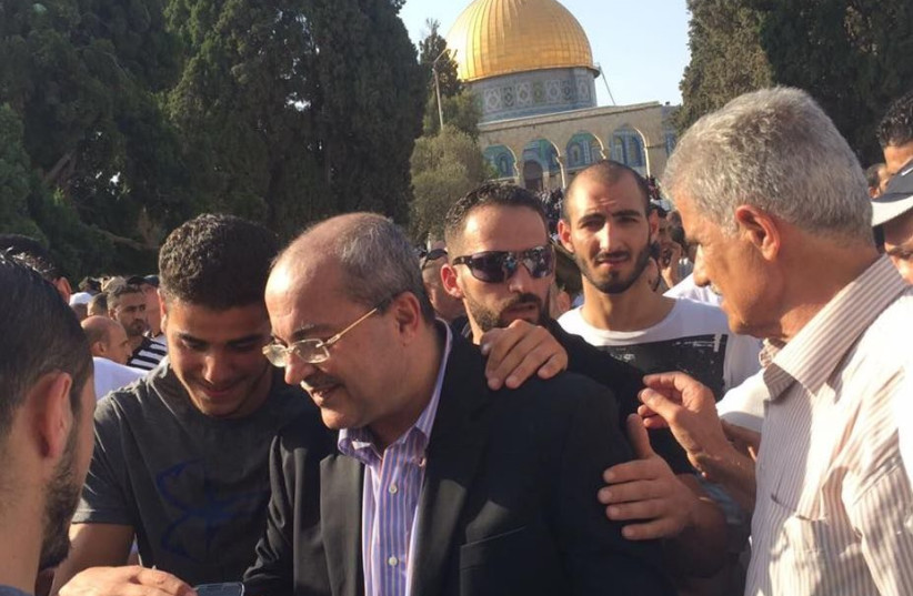 MK Ahmed Tibi during a visit to the Temple Mount in July (photo credit: COURTESY MK AHMED TIBI)