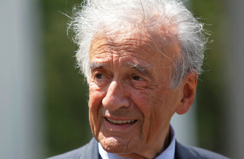 WRITER, NOBEL LAUREATE and Holocaust survivor Elie Wiesel speaks to the media outside the West Wing of the White House in 2010 (photo credit: REUTERS)
