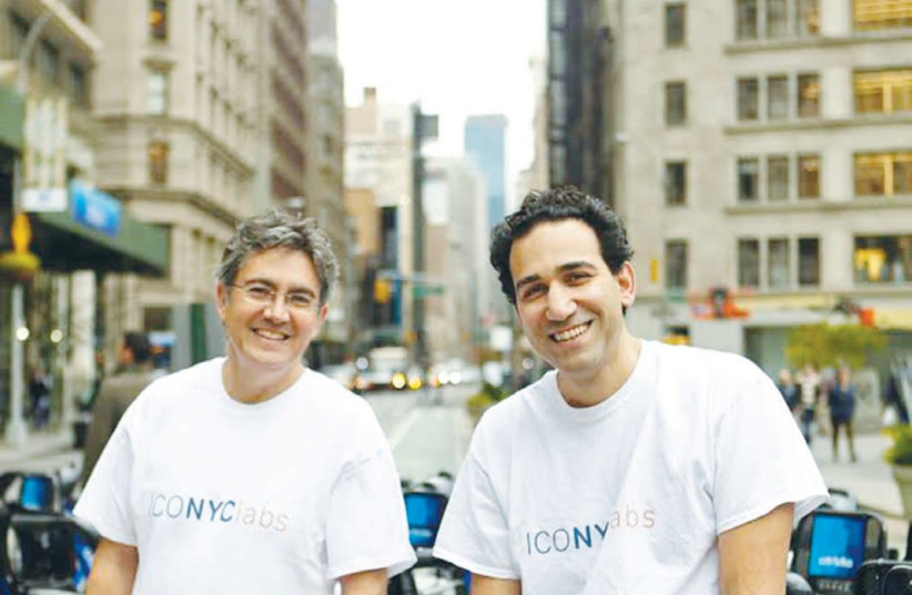 ISRAELI START-UP incubator co-founders Arie Abecassis (left)and Eval Bino pose outside their office in Manhattan. (Courtesy ICONYC) (photo credit: Courtesy)
