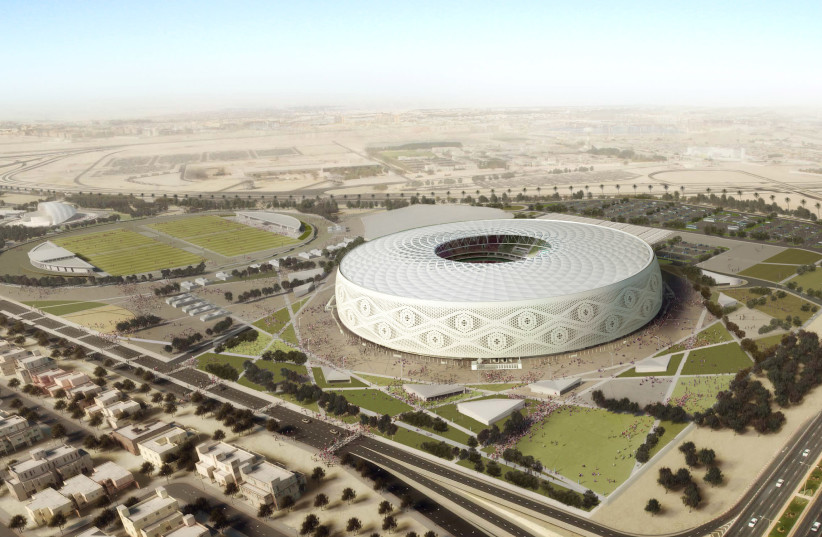 "Doha's Al Thumama stadium, designed by a Qatari architect in the shape of a traditional knitted ""gahfiya"" Arabian cap, is seen in this artist illustration released on August 20, 2017 (photo credit: REUTERS)"