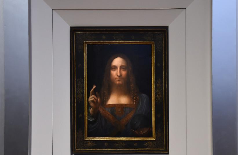 Christie's unveils Leonardo da Vinci's 'Salvator Mundi' at Christie's New York on October 10, 2017 in New York City. (photo credit: ILYA S. SAVENOK/GETTY IMAGES FOR CHRISTIE'S AUCTION HOUSE/AFP)