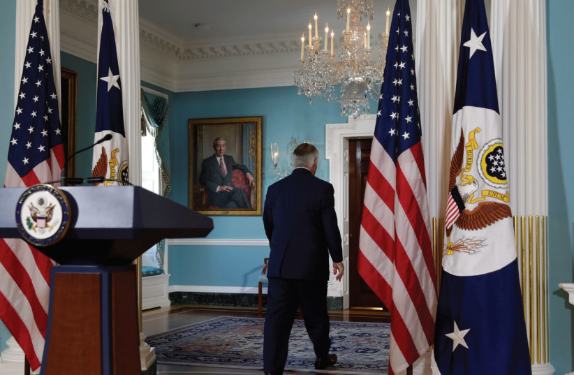 US SECRETARY of State Rex Tillerson leaves after making a statement to the media (photo credit: REUTERS)