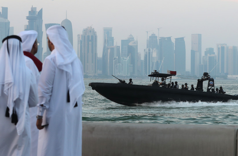 A general view taken on September 24, 2017 shows the Navy Special Forces off the coast of the Qatari capital, Doha.  (photo credit: KARIM JAAFAR / AFP)