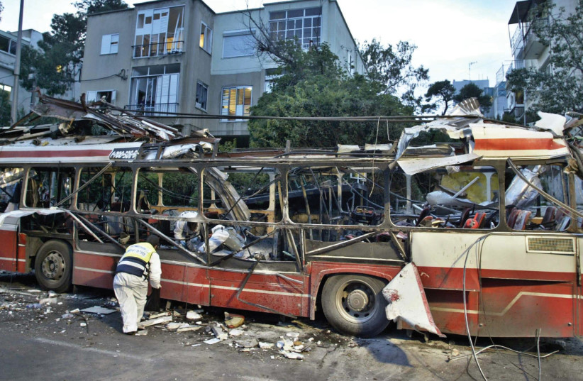 The aftermath of a bus attack in Haifa, 2003 (photo credit: REUTERS)