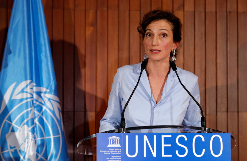 UNESCO Director-General Audrey Azoulay (photo credit: PHILIPPE WOJAZER / REUTERS)