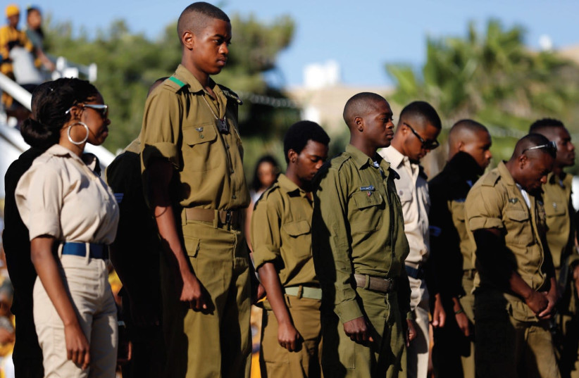 Soldiers from the African Hebrew Israelite community  (photo credit: REUTERS)
