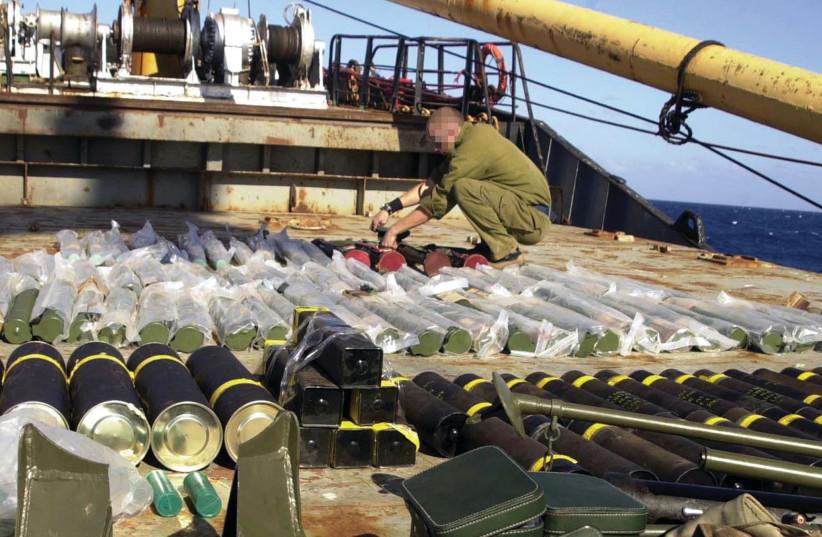 Une partie du stock d'armes trouvé sur le Karine A (photo credit: REUTERS)