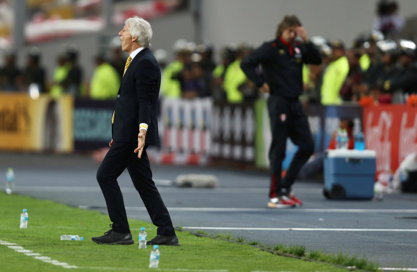 Soccer Football - 2018 World Cup Qualifiers - Peru v Colombia - Nacional Stadium, Lima, Peru - October 10, 2017. Colombia's team head coach Jose Pekerman reacts. (photo credit: REUTERS/GUADALUPE PARDO)