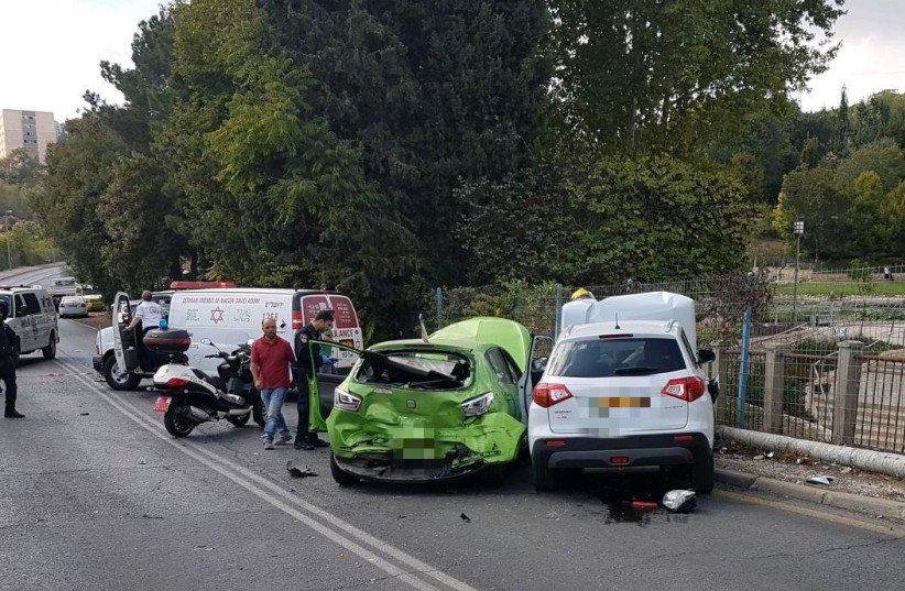 A car crash in Nayot, Jerusalem, October 2017 (photo credit: MAGEN DAVID ADOM)