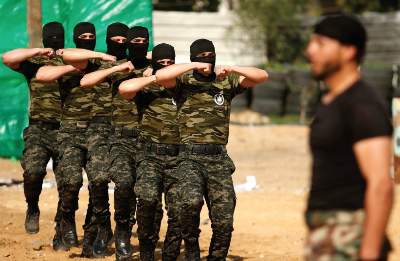 MEMBERS OF Hamas undergo training in Gaza.  (photo credit: REUTERS)