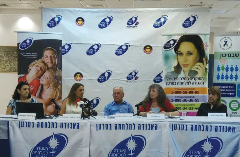 The Israel Cancer Association holds a press conference in Tel Aviv yesterday, ahead of its Knock on the Door fund-raising campaign next Monday. (photo credit: ICA)