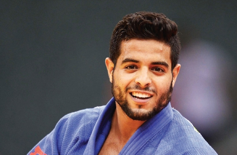 Israel's Sagi Muki is one of 12 blue-and-white judokas who are set to compete at the Abu Dhabi Grand Slam next weekend without their country's flag by their names or on their backs due to the demand of the organizers. (photo credit: ASAF KLIGER)