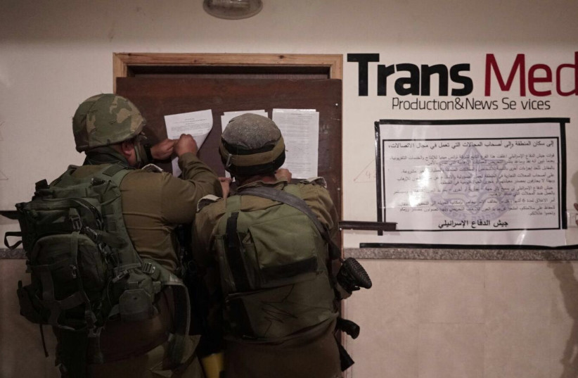 IDF troops raid Palestinian media outlets suspected of incitement.  (photo credit: IDF)