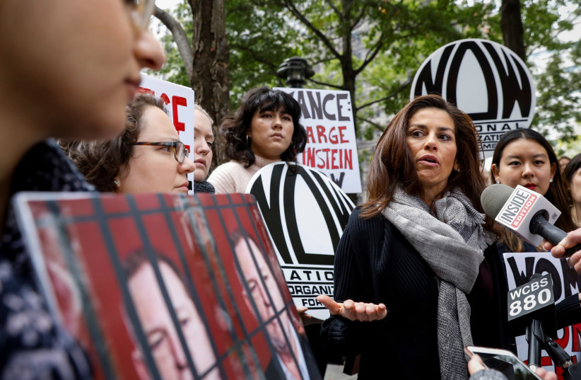 Sonia Ossorio, President of the National Organization for Women of New York, speaks during a rally to call upon Manhattan District Attorney Cyrus Vance Jr. to reopen a criminal investigation against Harvey Weinstein, New York, October 2017 (photo credit: REUTERS/BRENDAN MCDERMID)