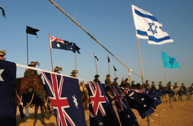 Australian and US flags in Beersheba during a 2007 event marking 90 years since the battle. (photo credit: REUTERS)