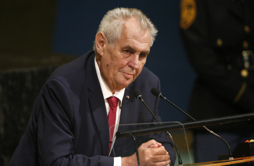 Czech Republic President Milos Zeman addresses the 72nd United Nations General Assembly at UN headquarters in New York, US, September 19, 2017. (photo credit: REUTERS/SHANNON STAPLETON)