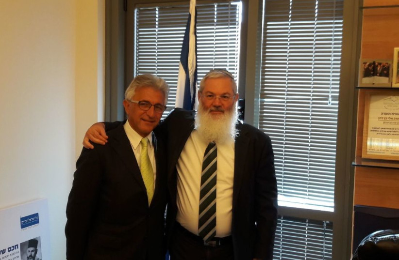 Deputy defense minister Eli Ben-Dahan meets with Sephardic community organizer in Toronto Max Benaim at the Knesset  (photo credit: Courtesy)