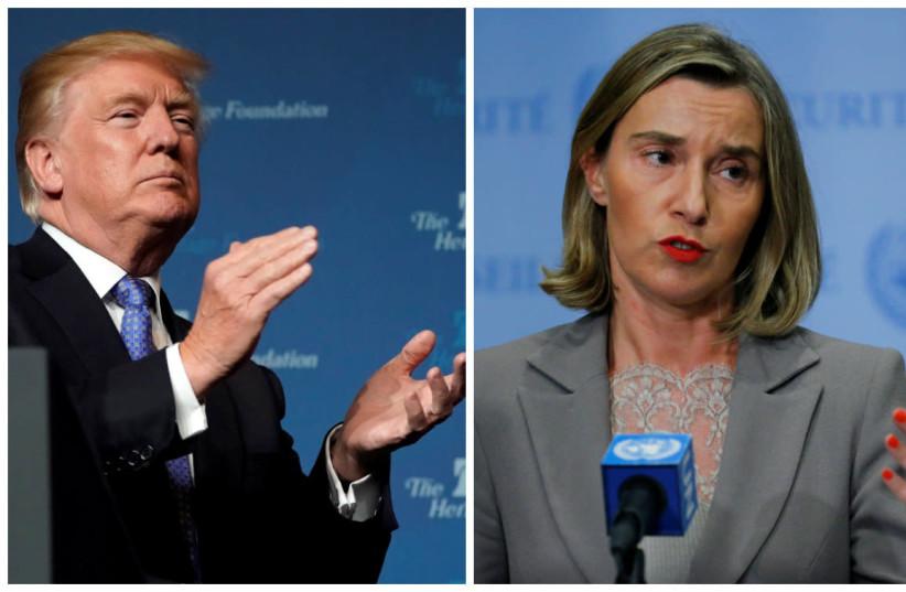 A compilation photo of Federica Mogherini and Donald Trump (photo credit: EDUARDO MUNOZ&JOSHUA ROBERTS/REUTERS)