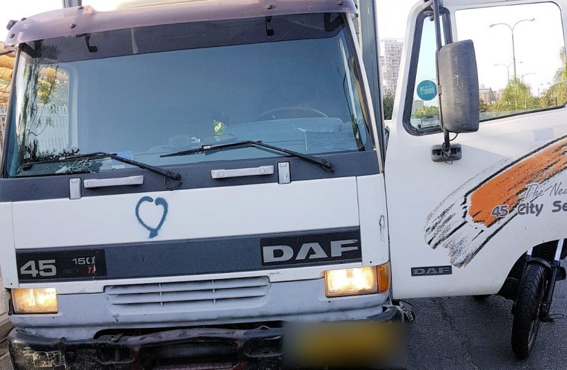 The truck in which the Ramallah man attempted to carry an attack  (photo credit: POLICE SPOKESPERSON'S UNIT)