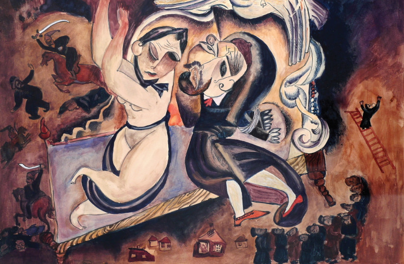 Isaachar Ber Ryback, 'Pogrom,' Private collection, Germany, 1919 (photo credit: COURTESY THE JEWISH MUSEUM IN MOSCOW)